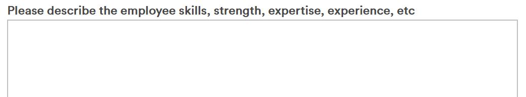 Experience Skills description box
